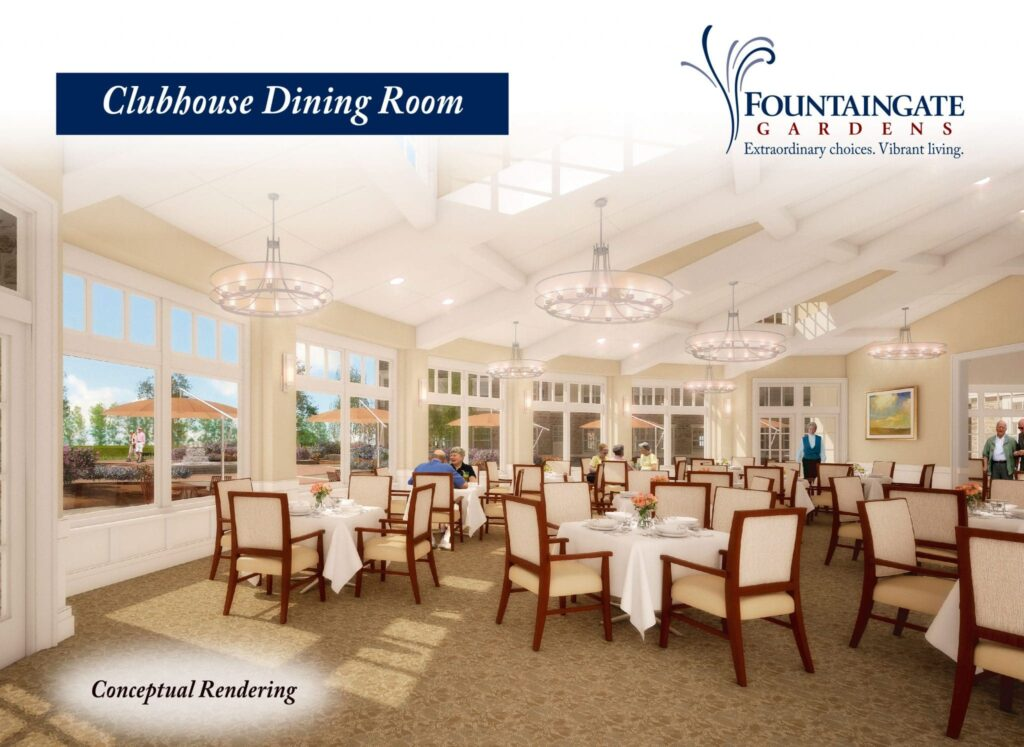 Conceptual Rendering of Fountaingate Gardens' Clubhouse Dining Room. The independent living community will be built after a Certificate of Authority to operate the community has been issued by the Department of Health and the requirements for construction have been met.
