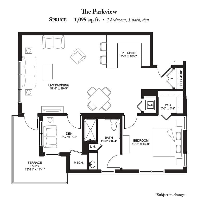 The Spruce A Sophisticated Spacious One Bedroom With Den Design